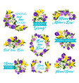 mother day spring holiday icon with flower bouquet vector image vector image
