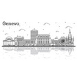 outline geneva switzerland city skyline vector image