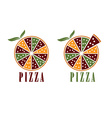 pizza with leaves design template vector image vector image