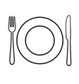plate with fork and knife icon laying the table vector image vector image