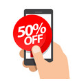 right hand holds smartphone fifty percent vector image vector image