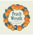 ripe ruddy peaches wreath fruit packaging design vector image