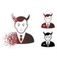 sad fragmented pixelated halftone satan icon vector image vector image