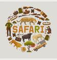 safari hunting set round patterns vector image vector image