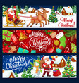 santa snowman with christmas tree gift reindeer vector image vector image