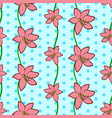 seamless floral pattern with pink lily flowers vector image vector image