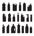 set black silhouette bottles cans vector image