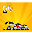 Set of colorful taxi cars on black road w vector image