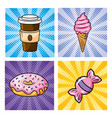 set plastic coffee with ice cream and donut vector image