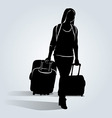 Silhouette of a woman with a suitcase vector image
