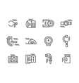 Simple black line metrology tools icons set vector image vector image