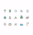 simple set eco related line icons global vector image