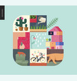 simple things - home composition on mint vector image vector image