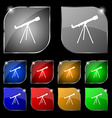 Telescope icon sign Set of ten colorful buttons vector image vector image