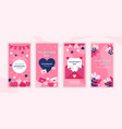 valentines day social media stories design vector image vector image