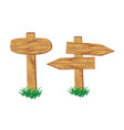 wooden signpost standing in grass set isolated vector image