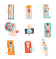 young people sunbathing on the beach set top view vector image