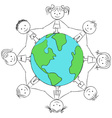 Kids around planet vector image