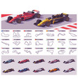 racing tracks and cars vector image