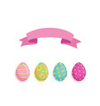 flat easter decorated eggs set vector image