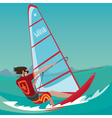 Man is engaged in windsurfing vector image
