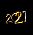2021 happy new year gold 3d lettering numbers sign vector image vector image