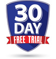 30 day free trial flat design label with red vector image vector image