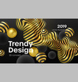 abstract background with 3d dynamic shapes black vector image vector image