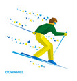 alpine skiing cartoon skier running downhill vector image vector image