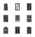 apartment window icon set simple style vector image vector image