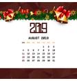 august 2019 calendar template vector image