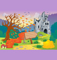 autumn theme with castle ruins 4 vector image vector image