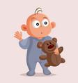 baholding teddy bear cartoon character vector image