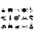 black restaurant icons set vector image vector image