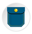 Blue pocket with yellow button icon circle vector image