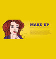 bright colored horizontal banner with woman vector image