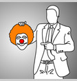 businessman holding smiling joker head vector image vector image
