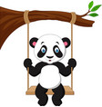 cartoon cute panda swinging vector image vector image
