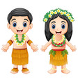 cartoon hawaiian couple wearing traditional costum vector image vector image