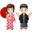 cartoon japanese boy and girl in traditional unifo vector image