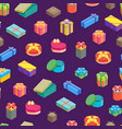 cartoon present boxes seamless pattern background vector image