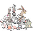 cartoon rabbits animal characters group vector image vector image