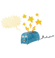 cartoon sparking toaster with speech bubble vector image