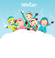 Children Playing Snow Together vector image vector image