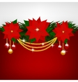 Christmas decoration with poinsettia flowers vector image