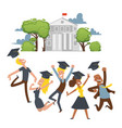 college students celebrate graduation happy vector image