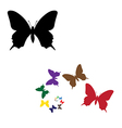 colour silhouettes butterflies vector image