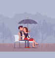 couple in love under umbrella vector image vector image