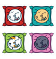 cute cat sleeping on a pillow set cats vector image vector image
