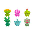 cute funny plants characters set friendly fantasy vector image vector image